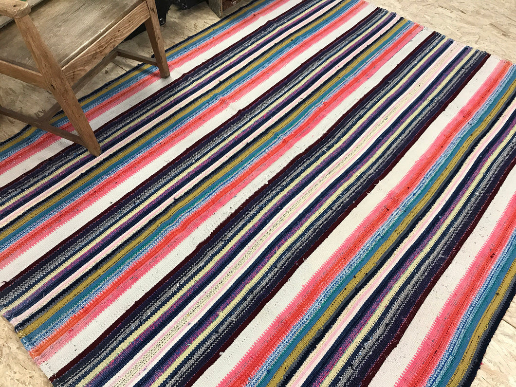 6x8 MCM Kilim White &Rainbow Striped Rug