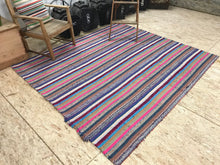 Load image into Gallery viewer, MCM 6x7 Pink and Blue Striped Vintage Kilim