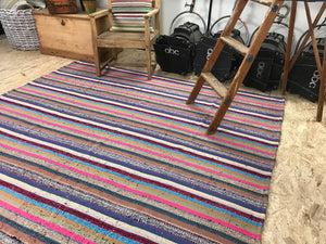 MCM 6x7 Pink and Blue Striped Vintage Kilim