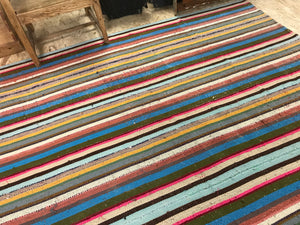 7 x 8 MCM Kilim Blue & Rainbow Striped Carpet