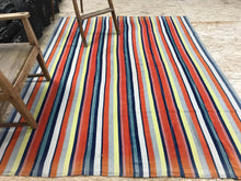 Load image into Gallery viewer, MCM 6x8 Orange and Yellow Striped Vintage Kilim
