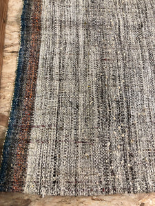 6'4 x 10 MCM Kilim White, Black, Blue and Pumpkin Tweed