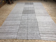 Load image into Gallery viewer, 7 x 11  MCM Kilim Rug White, Gray, and Brown