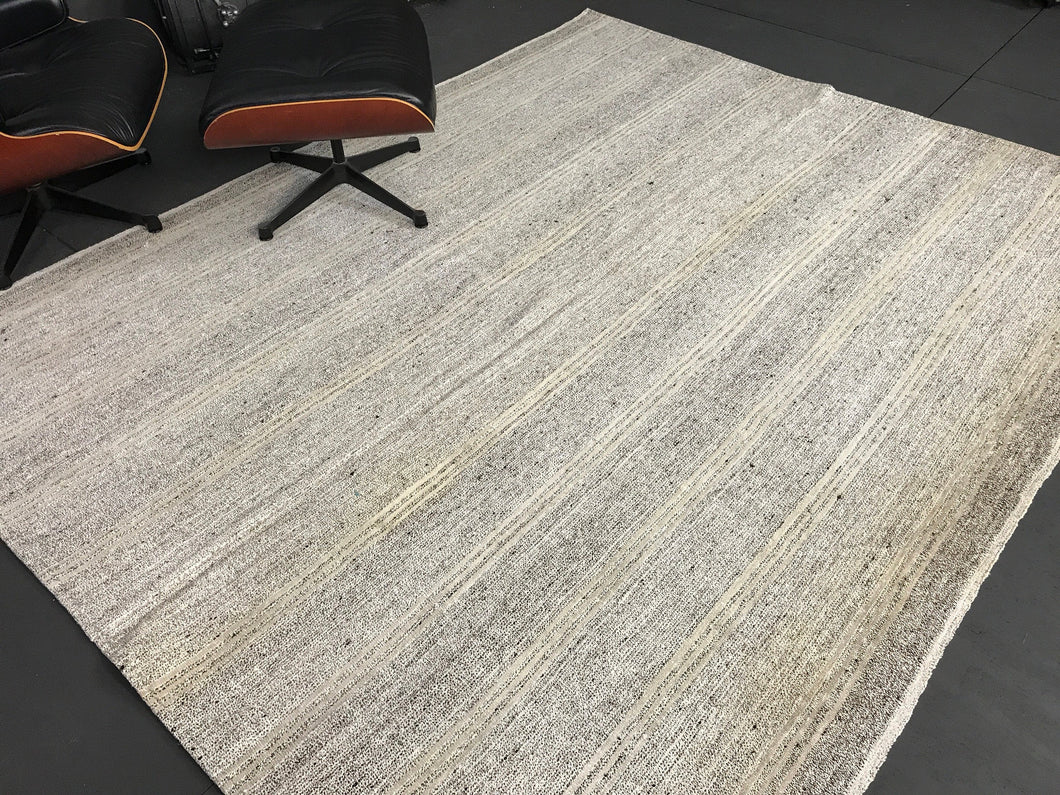 7 x 9 MCM Kilim Rug Cream & Gray Tweed