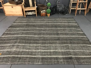 7 x 8 Turkish Kilim Dark Brown Vintage Minimalist MCM