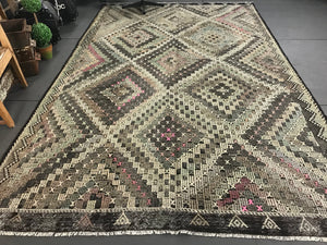 7 x 12 Cicim (jijim) Carpet Large Vintage Turkish Bohemian Kilim Rug Muted Pastels