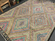 Load image into Gallery viewer, 7 x 11 Cicim (jijim) Carpet Large Vintage Turkish Bohemian Kilim Rug Soft Pastels
