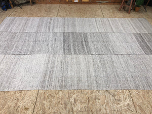 7 x 11  MCM Kilim Rug White, Gray, and Brown
