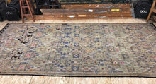 "Load image into Gallery viewer, 5'6"" x 12'3""  Jijim Wide Runner Carpet Large Vintage Turkish Bohemian Kilim Rug Muted Blues Beiges"