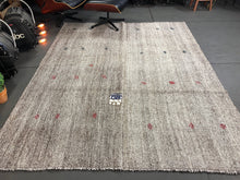 Load image into Gallery viewer, 7 x 8 MCM Vintage Turkish Kilim Rug Hemp Goat Hair Black and White Tweed