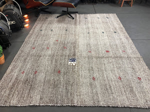 7 x 8 MCM Vintage Turkish Kilim Rug Hemp Goat Hair Black and White Tweed