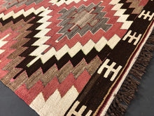 Load image into Gallery viewer, 3' x 5' Vintage Kilim Turkish Anatolian Kilim  Muted Desert Colors Geometric Pattern