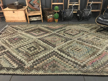 Load image into Gallery viewer, 7 x 12 Cicim (jijim) Carpet Large Vintage Turkish Bohemian Kilim Rug Muted Pastels