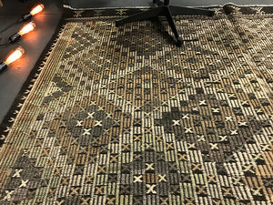 6'9 x 7'10 Cicim (jijim) Turkish Bohemian Kilim  Earth Tones