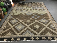 Load image into Gallery viewer, 7 x 11 Cicim (jijim) Carpet Large Vintage Turkish Bohemian Kilim Rug Muted Fall Coastal Colors