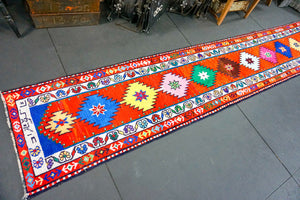 Long Oushak Runner 2'3 x 13'4 Bright Colorful Turkish