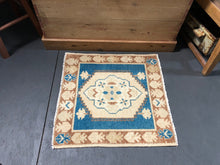 Load image into Gallery viewer, 2 X 2 Vintage Turkish Oushak Rug Blue, Beige, Copper