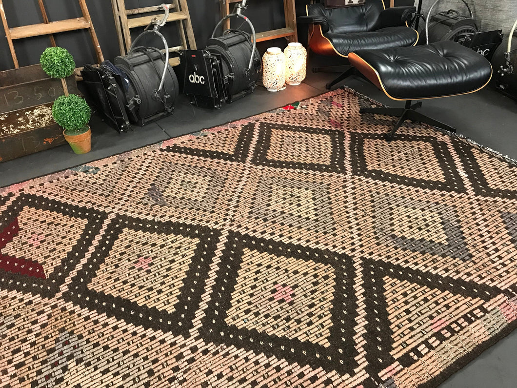 6 x 11 Cicim (jijim) Kilim  Vintage Turkish  Pale Pink and Brown Kilim