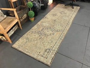 3 X 10 Jijim Runner Rug Vintage Turkish Embroidered  Pastel Green