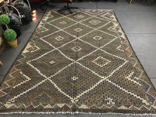 Load image into Gallery viewer, 7 x 10 Cicim (jijim) Carpet Large Vintage Turkish Bohemian Kilim Rug Muted Green + Gray