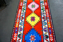 Load image into Gallery viewer, 2'3 x 13'4 Vintage Herki Runner Bright Colorful Turkish