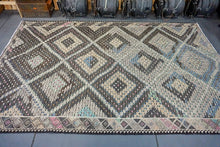 Load image into Gallery viewer, 7 x 11 Bohemian Kilim Rug Pastel Green, Blues, Grays, Sand