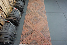 Load image into Gallery viewer, 3 x 8'5 Jijim Runner Rug Vintage Deep Copper, Blush, Gray + Black