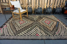 Load image into Gallery viewer, 6' x 8' Jijim Bohemian Kilim Black/Brown + Light Green & Pink