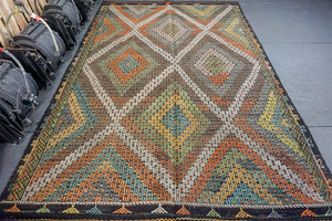 6'8 x 10' Jijim Bohemian Kilim Brown, Green, Yellow & Orange