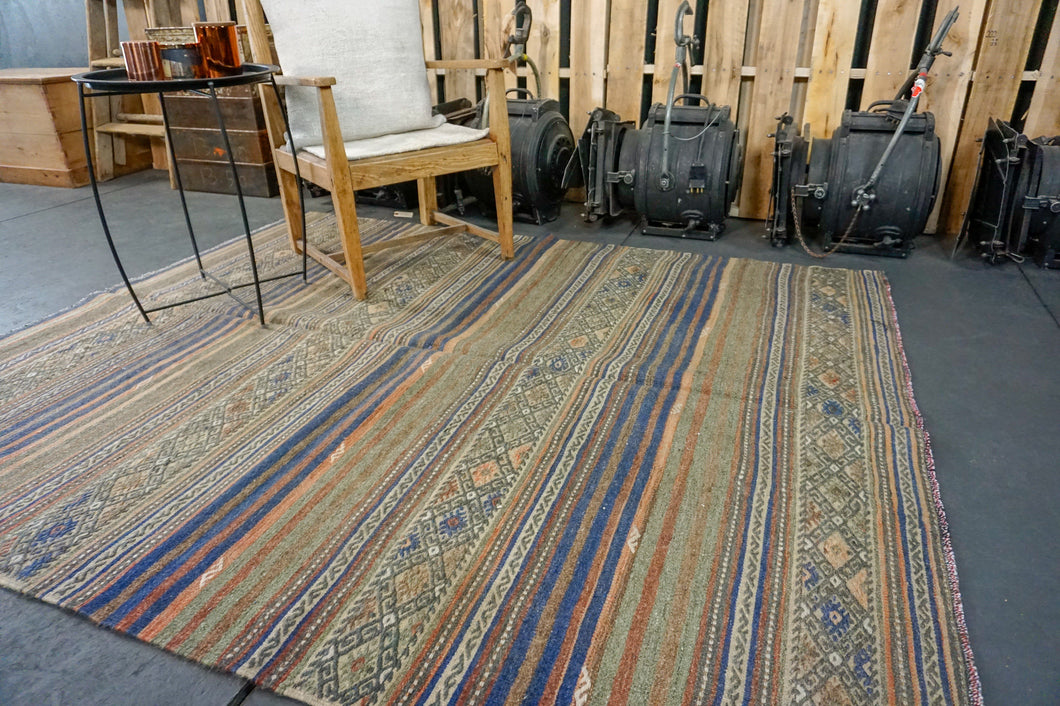6 x 7 Jijim (Cicim) Carpet Vintage Turkish Kilim Green, Blue + Orange Kilim