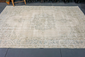 Oushak Rug 6'10 x 10'6 Pale Indigo Blue and Sand Beige & Forest Green
