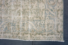 Load image into Gallery viewer, Oushak Rug 6'10 x 10'6 Pale Indigo Blue and Sand Beige & Forest Green