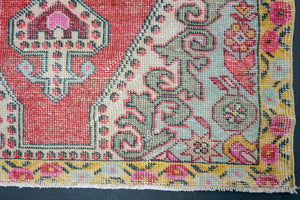 4'1 x 7'5  Oushak Rug Pale Red, Yellow & Green
