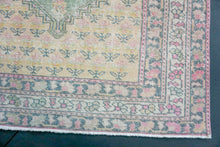 Load image into Gallery viewer, 4'6 X 7'2 Oushak Rug Faded Yellow, Green + Pink Rose