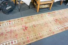 Load image into Gallery viewer, 2'8 x 11'5 Vintage Turkish Runner Camel, Olive ,White and Pink
