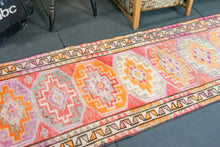 Load image into Gallery viewer, Oushak Runner 2'6  x 10'7 Pink and Orange Turkish Runner