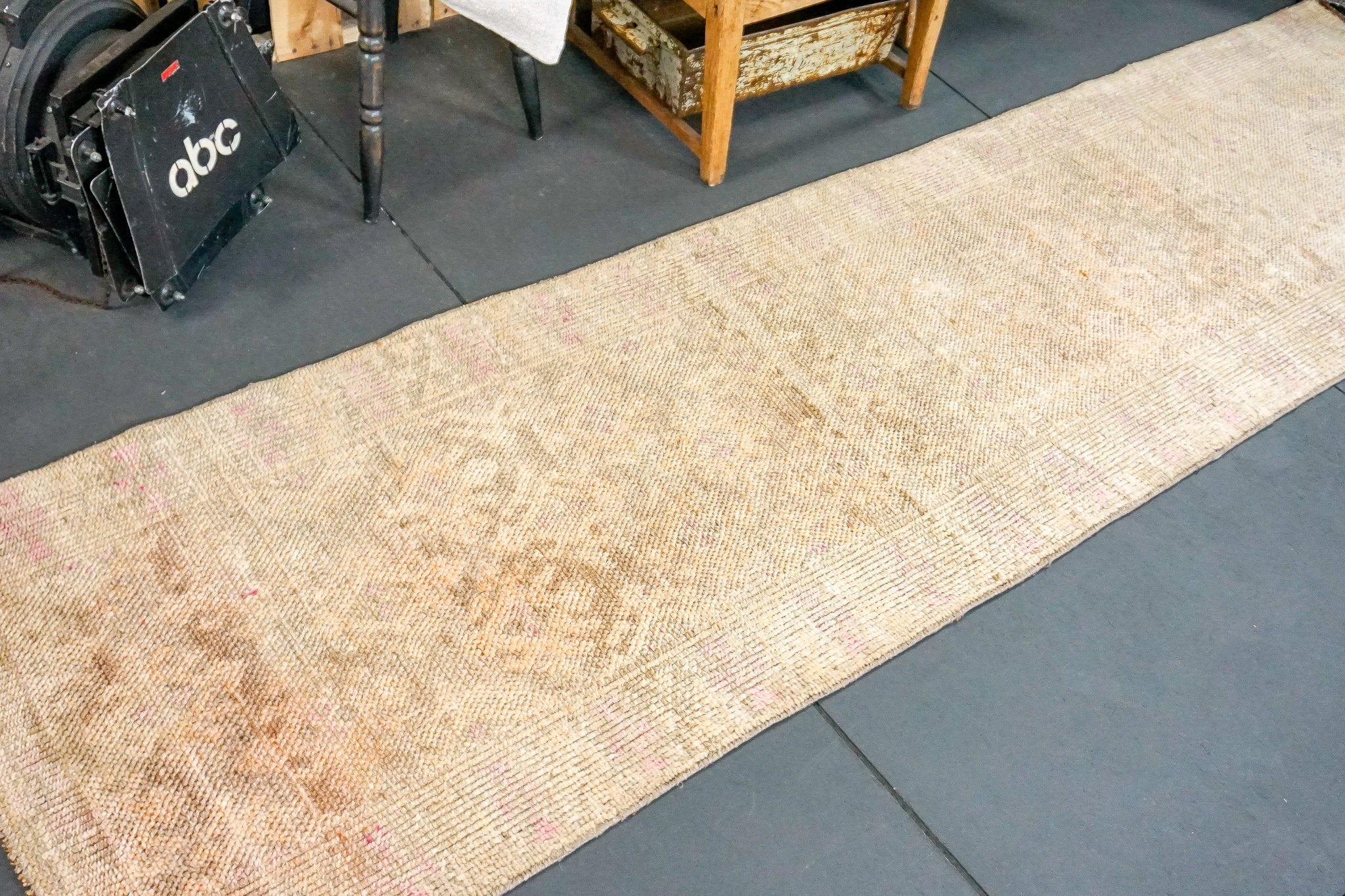 Oushak Runner 3 x 10'8 Golden Beige and  Blush Pink Turkish Rug
