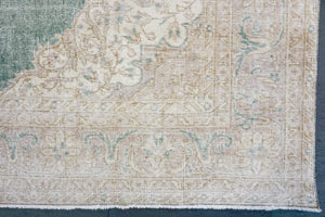 Distressed Oushak Rug 7'4 x 10'9 Pale Forest Green, Mauve and Beige