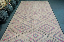 Load image into Gallery viewer, 6'7 x 11'1 Jijim (Cicim) Bohemian Kilim Rug Blush, Gray, Violet, Pink