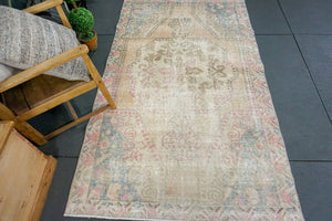 4'3 x 7'2 Oushak Rug Faded Cream, Sand, Baby Pink & Blue