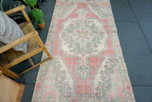 Load image into Gallery viewer, 4'1 X 7'3 Oushak Rug Blush Pink, W/ Gray Green & Flowers