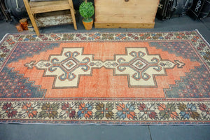 4'4 x 9' Oushak Rug Faded Red, Blue and Cream