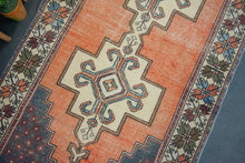 Load image into Gallery viewer, 4'4 x 9' Oushak Rug Faded Red, Blue and Cream