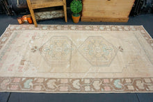 Load image into Gallery viewer, 3'11 x 7'8 Oushak Rug Beige, Dark Camel, Light Pink, and Blue