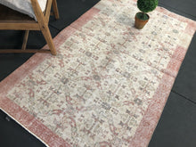 Load image into Gallery viewer, 4 X 7 Oushak Rug Blush Rose, Teal, and Beige