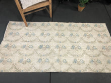 Load image into Gallery viewer, 3 x 6 Oushak Rug Beige, Turquoise & Green Floral