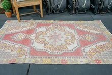 Load image into Gallery viewer, 4'1 x 6'8 Oushak Rug Pale Red, Yellow & Gray