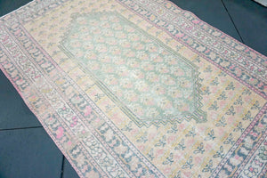 4'6 X 7'2 Oushak Rug Faded Yellow, Green + Pink Rose