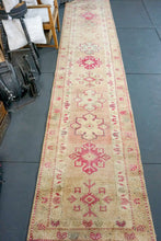 Load image into Gallery viewer, Long Oushak Runner 2'11 x 13'10 Golden Beige, Blush, Raspberry Pink and Gray
