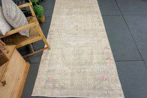 3'9 x 8'4 Oushak Rug Distressed Muted Taupe, Gray, Blush + Pink